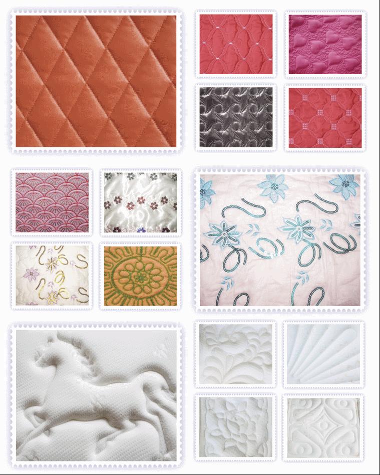 Образцы из коллекции узоров, выполненных стегальными машинами Richpeace